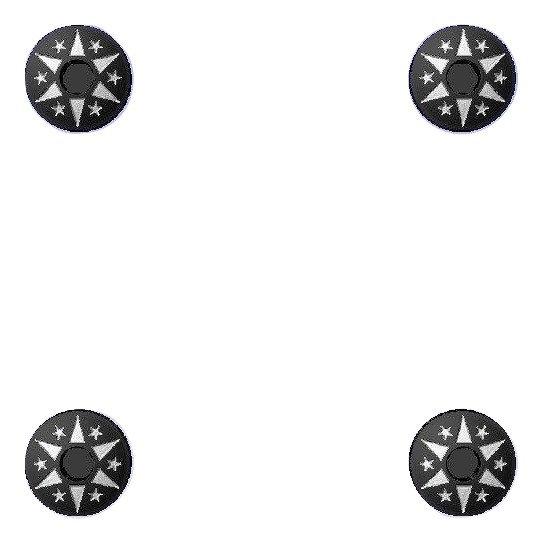 1911 Engraved Black HH Spikes & Stars Grip Screws, Bushings, O-Rings, Wrench Kit