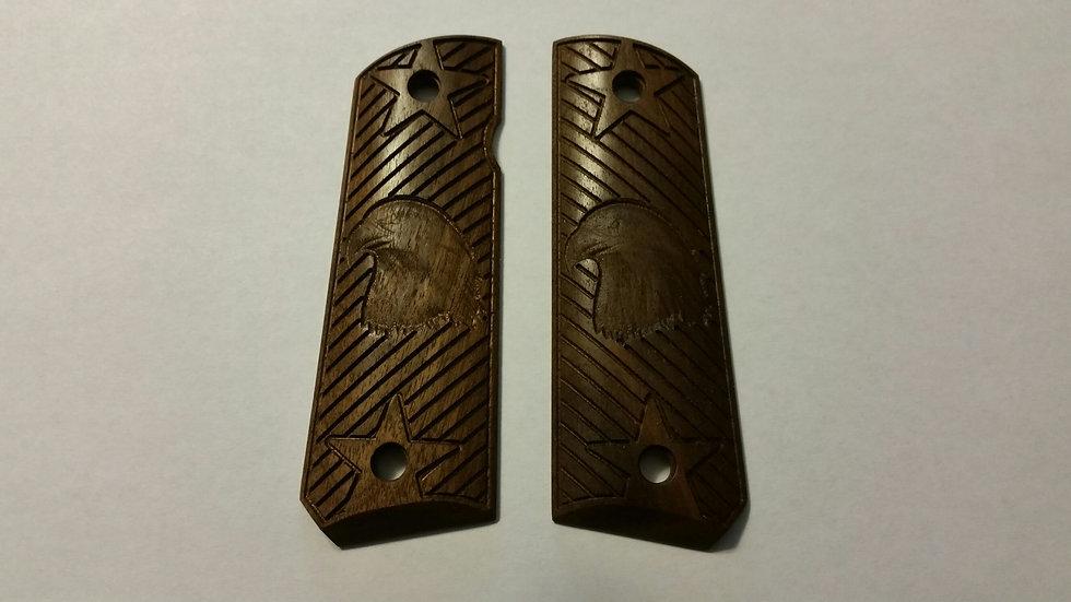 "1911 Standard Full Size Bald Eagle -Stars & Strips ""Walnut"" Wood Grips"