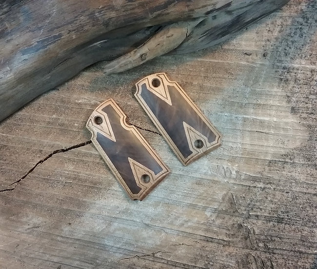 Kimber Micro 9 - Pecan with Walnut Inlay - Double Diamond Border Grips