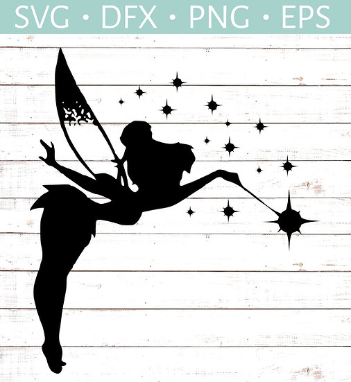 Tinkerbell Silhouette - Flying - Wand & Stars