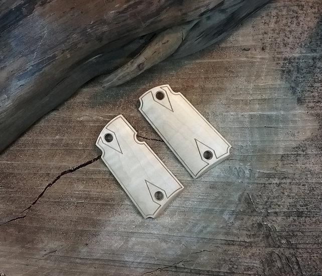 Kimber Micro 9 - Hard Curly Maple - Double Diamond Border Grips