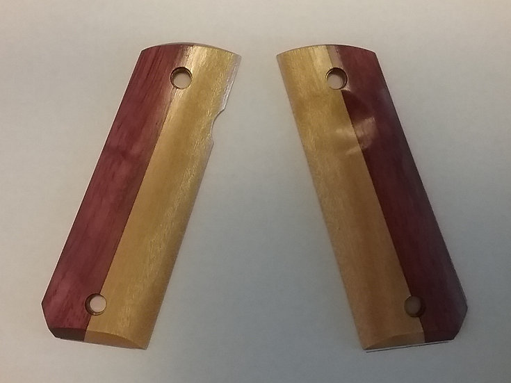 "1911 Full Size (Half & Half) ""Purpleheart & Yellowheart"" Wood Grips"