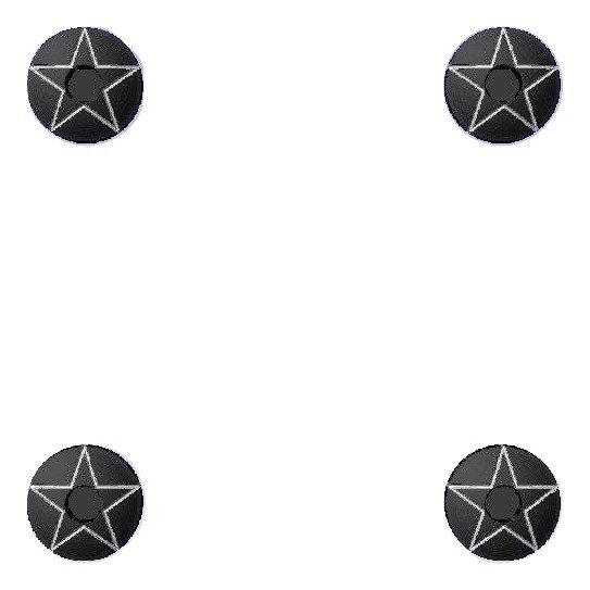 1911 Engraved Black HH Stars Design Grip Screws, Bushings, O-Rings, Wrench Kit