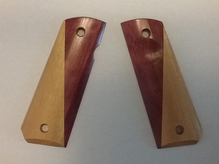 "CFP Angled Half & Half ""Purpleheart & Yellowheart"" 1911 Wood Grip"