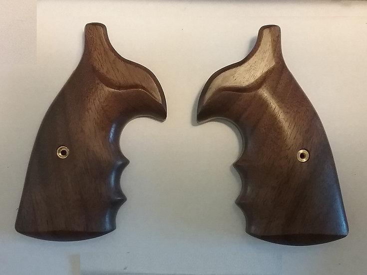 """S&W K/L-Frame """"Walnut"""" Finger Groove Revolver Grip - Round Butt Conversion"""