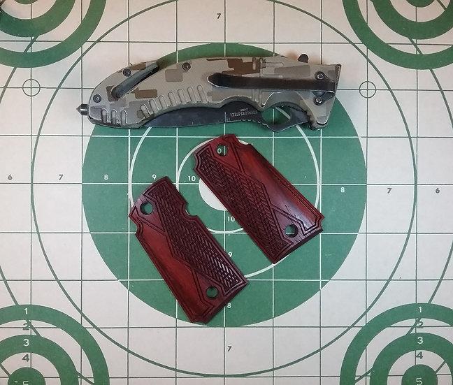 Kimber Micro 9 - Padauk - Double Diamond Half Tactical Slant Checkering Grips