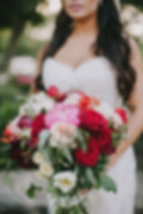 Napa Wedding Evynn Levalley Photography bride with red pink and white wedding bouquet