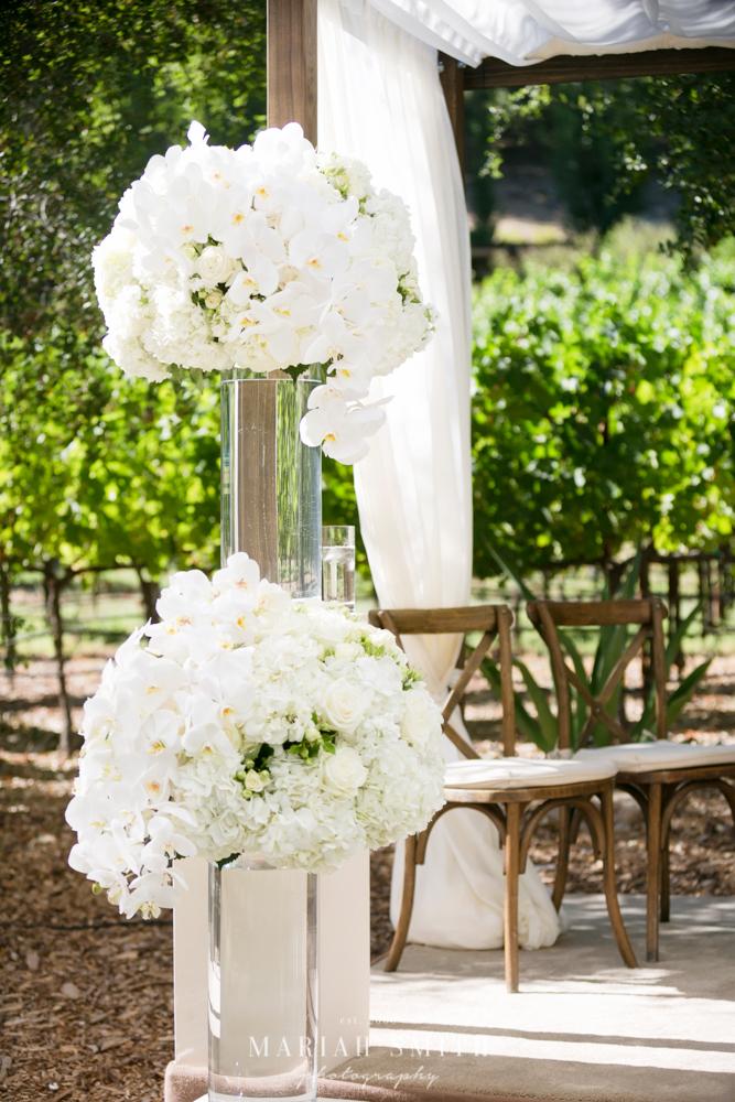 Napa wedding white floral alter