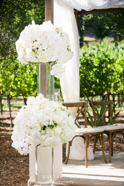 Napa wedding white floral alter