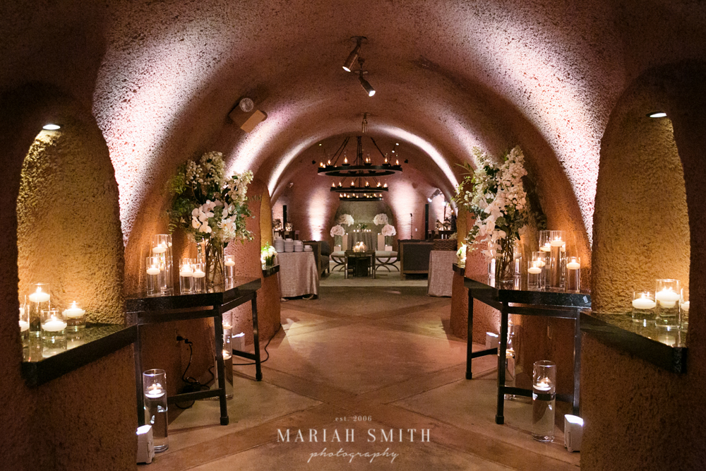 Napa wedding cellar reception space