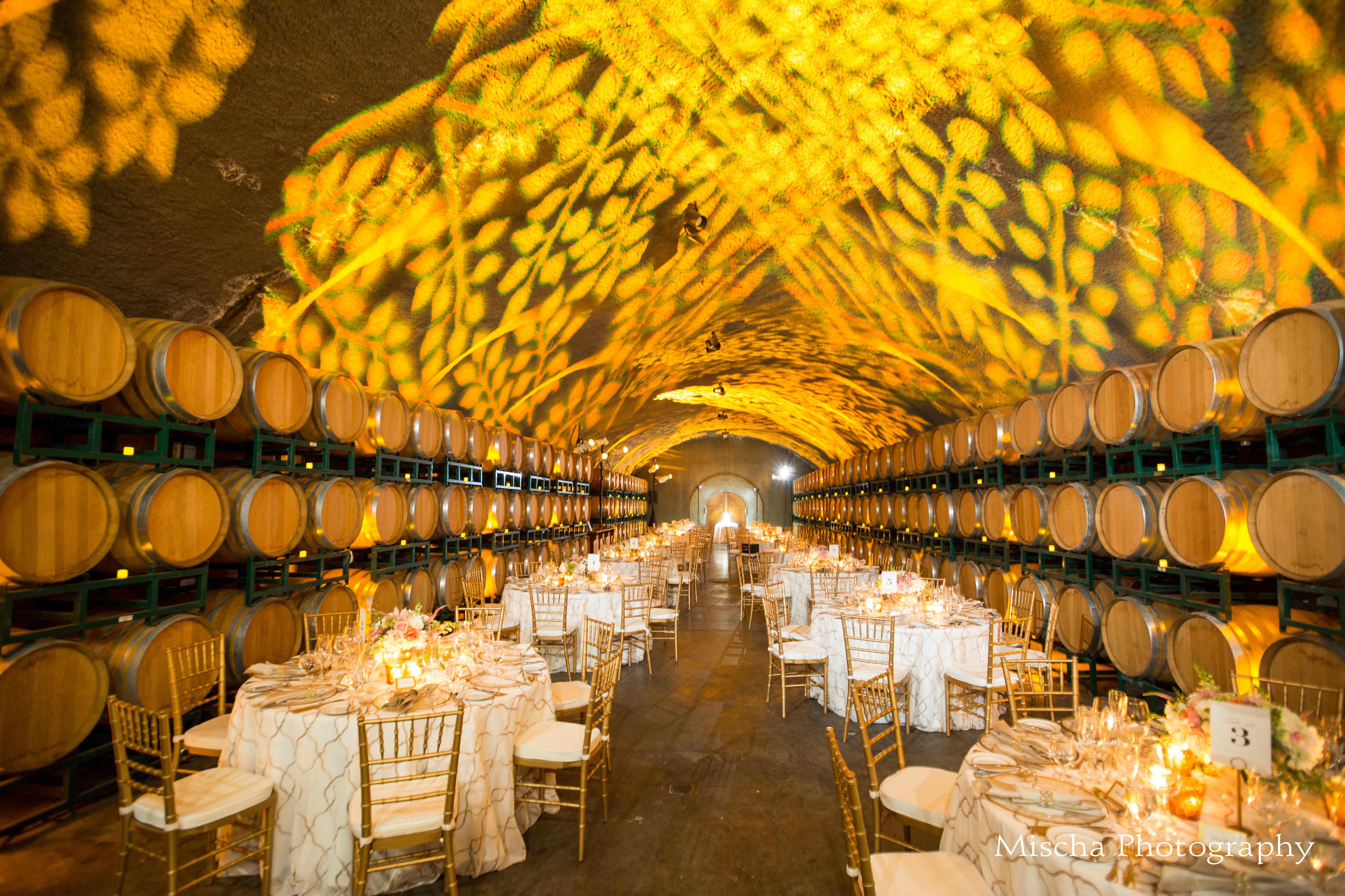 Gloria Ferrer wine cellar wedding