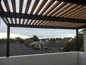 Steel pergola powder coated with wooden