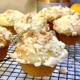 Muffins de yogurt y cítricos con crumble