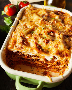 Tasty dish of oven-baked lasagne topped