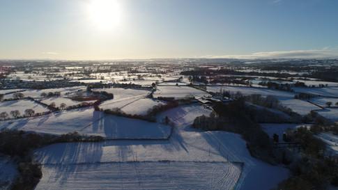 Snow towards Marcwiel, Wrexham