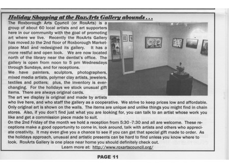 Read about the gallery in the 'Roxborough Voice'