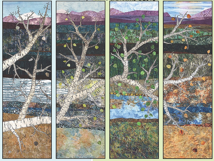 Kara Peterson - SEASONS ART QUILT (Four panels—quadriptych)