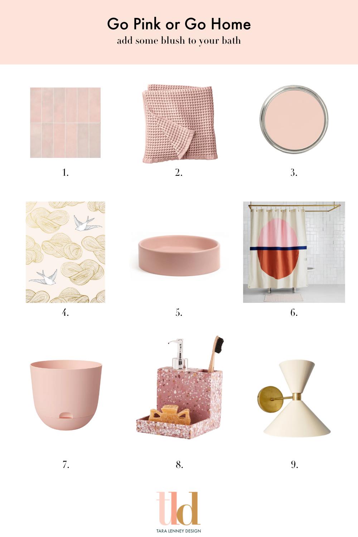 favorite pink bathroom items decor fixtures