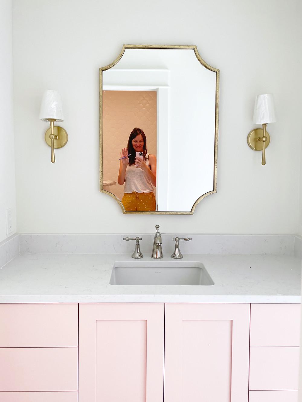 pink bath cabinet vanity