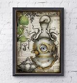 old style vintage octopus illustration