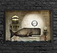 old whale vintage illustration