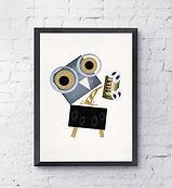 barny the owl can stinger beer illustration art print