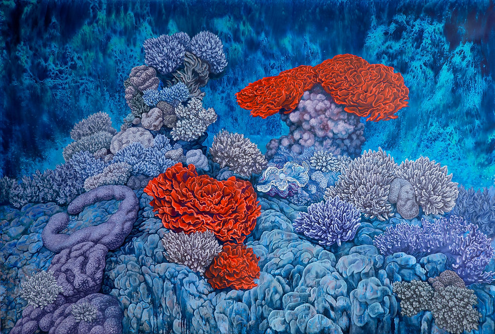 Red Coral Reign, oil on canvas, 54x80 in