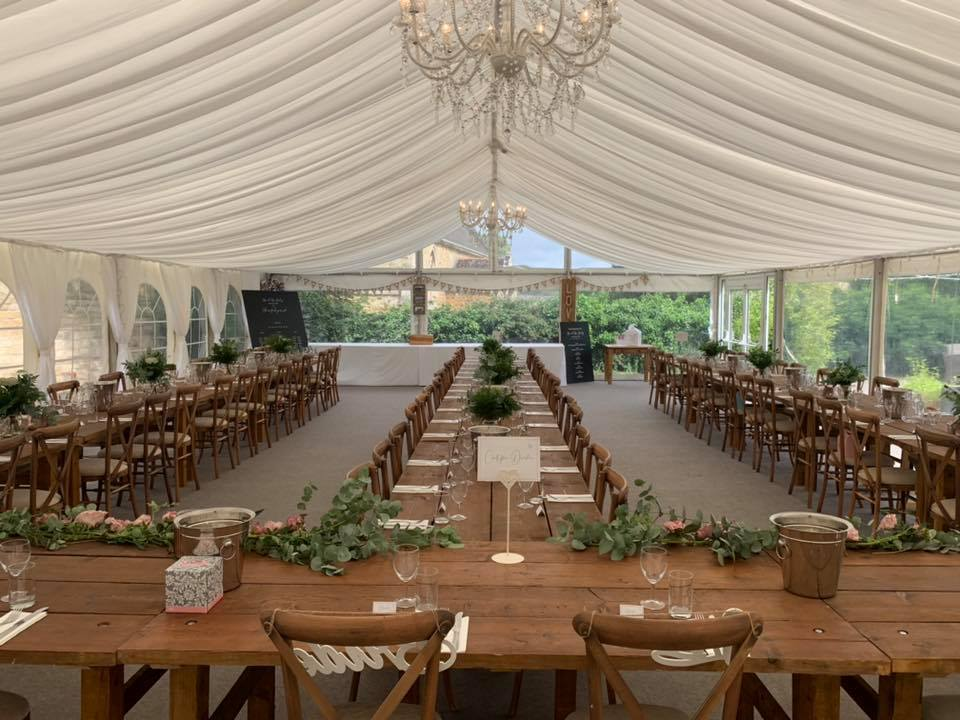 Marquee and Rustic Table - Something Bor