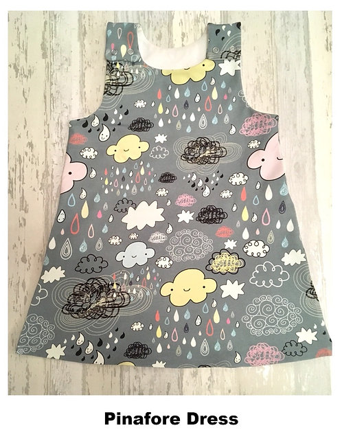 Pinafore Dress in Clouds and Friends