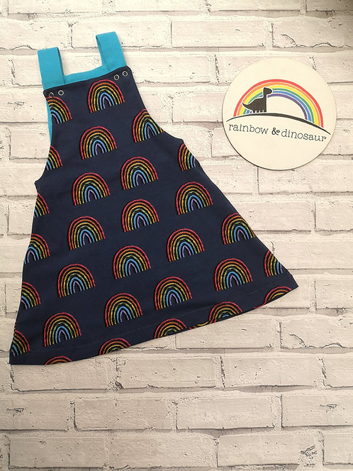 Rainbow Blues Dungaree dress
