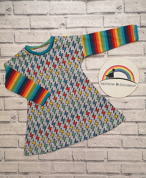 Rainbow Lightening A-line dress