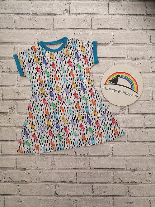 Watercolour Lightening A-line dress