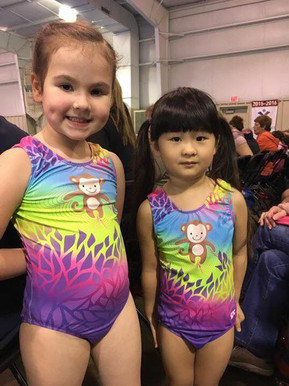 Posing in their special monkey leotards!