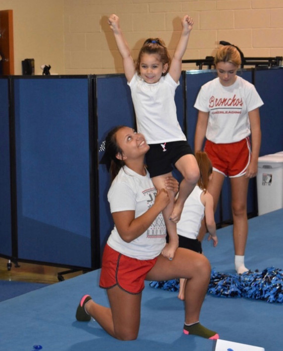 Working on stunts with the high school cheer girls!