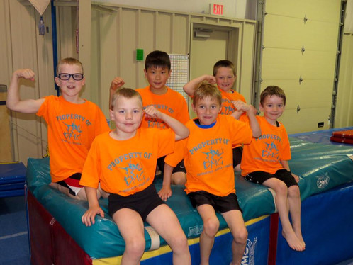 Boys gymnasts showing their muscles!