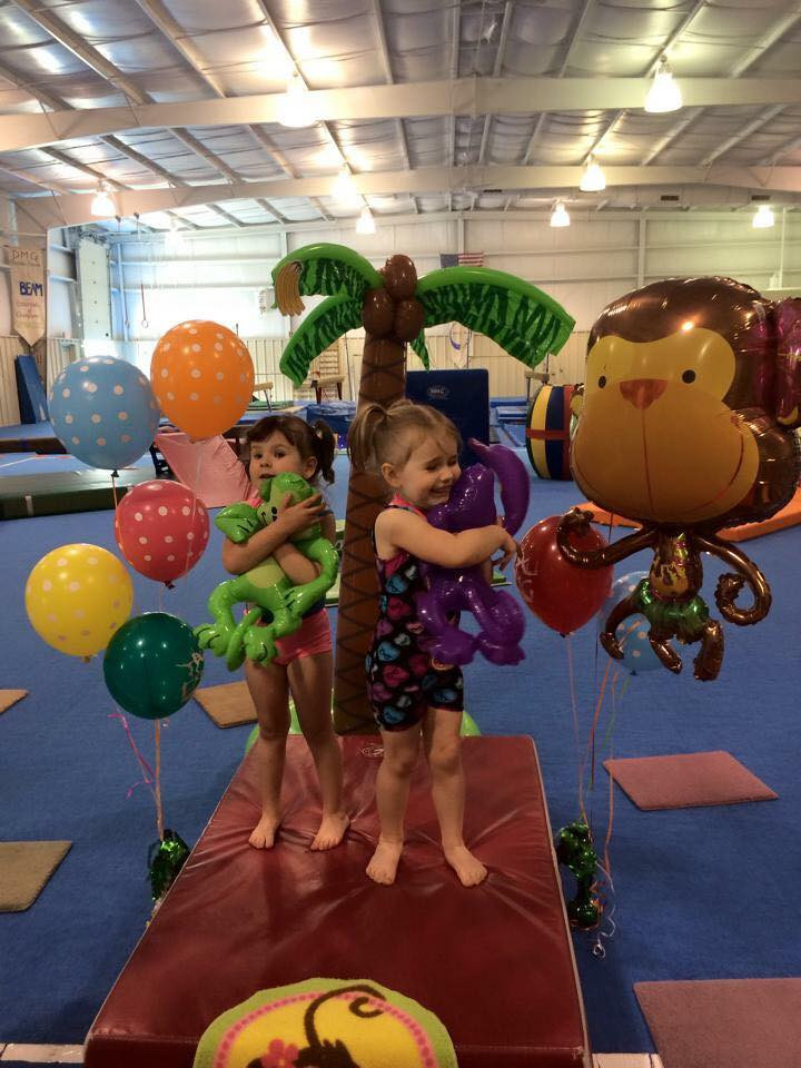 Hugging monkey balloons after the show!