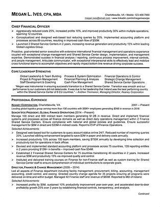 Financial Resume Sample