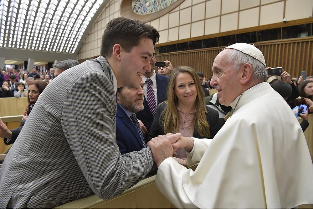 D'Arcy meeting Pope Francis