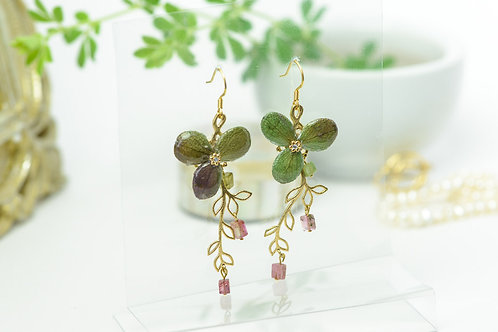 紫陽花のリーフピアス〈シルバー〉