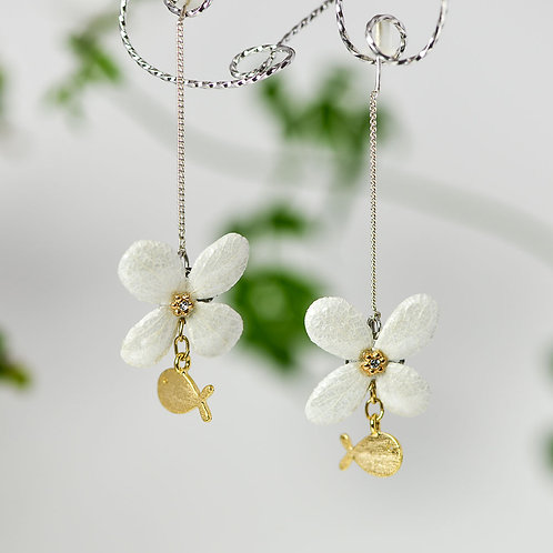 紫陽花のナチュラルピアス〈シルバー〉