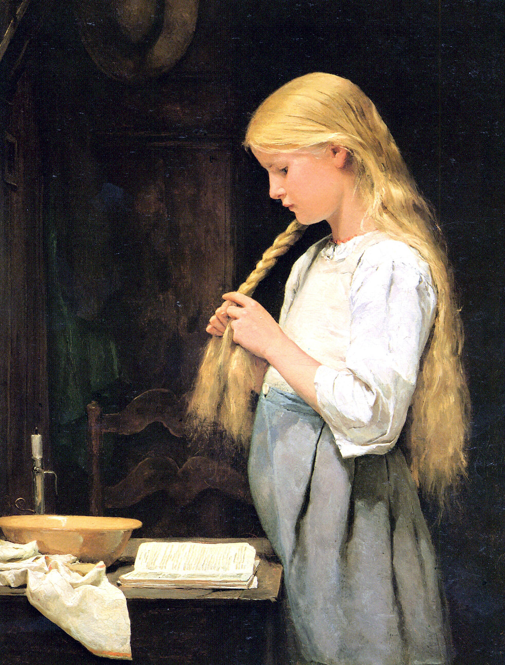 Original Painting by Albert Anker 1887