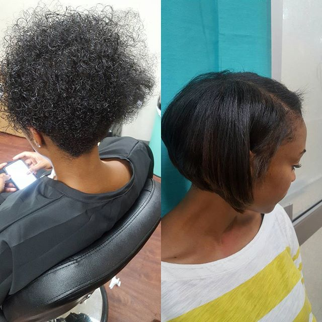 Gm #dolls 😊 Great #beforeandafter #naturalhair 👀 done with Basic Amino Acid Treatment #dmvhairsalo