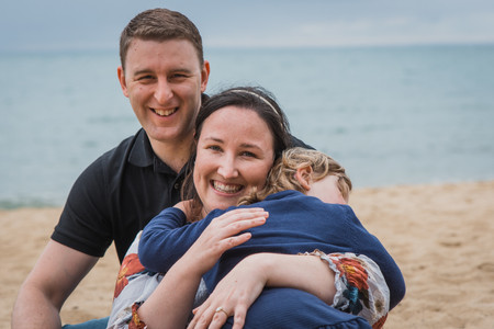 family photo on the beach - outdoor lifestyle photography melbourne