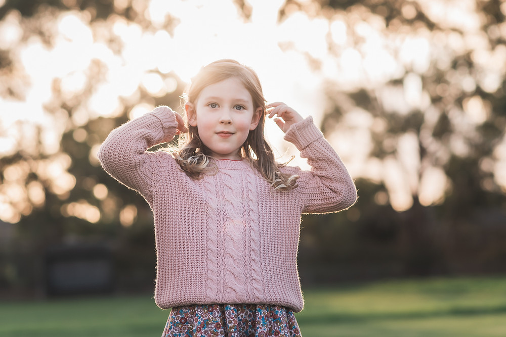 portrait of a girl child at golden hour - outdoor family photography Melbourne