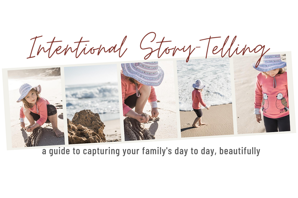 strip of story telling images of a child at the beach with writing mentioning a link to a guide for taking better photos of your kids