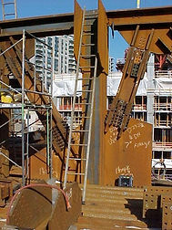Large transfer trusses used in a high rise.