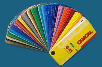 Двери-купе со стёклами обклеенных цветными плёнками ORAKAL