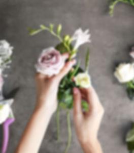 Florist working on a bouquet