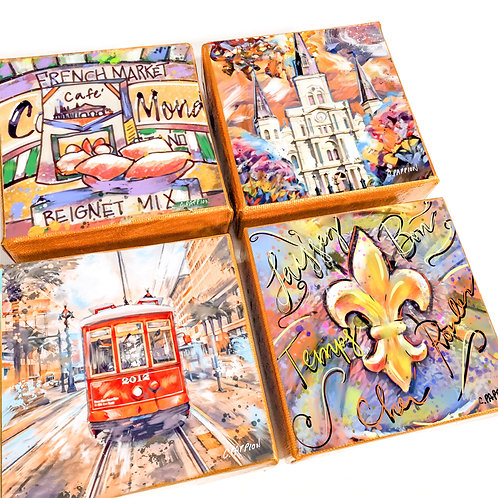 Most Popular New Orleans Art Scene Set of Four 4 x 4 inch canvas