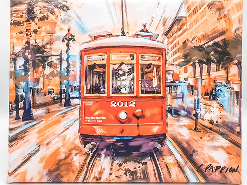 Vintage Streetcar 11 x14 inches on canvas